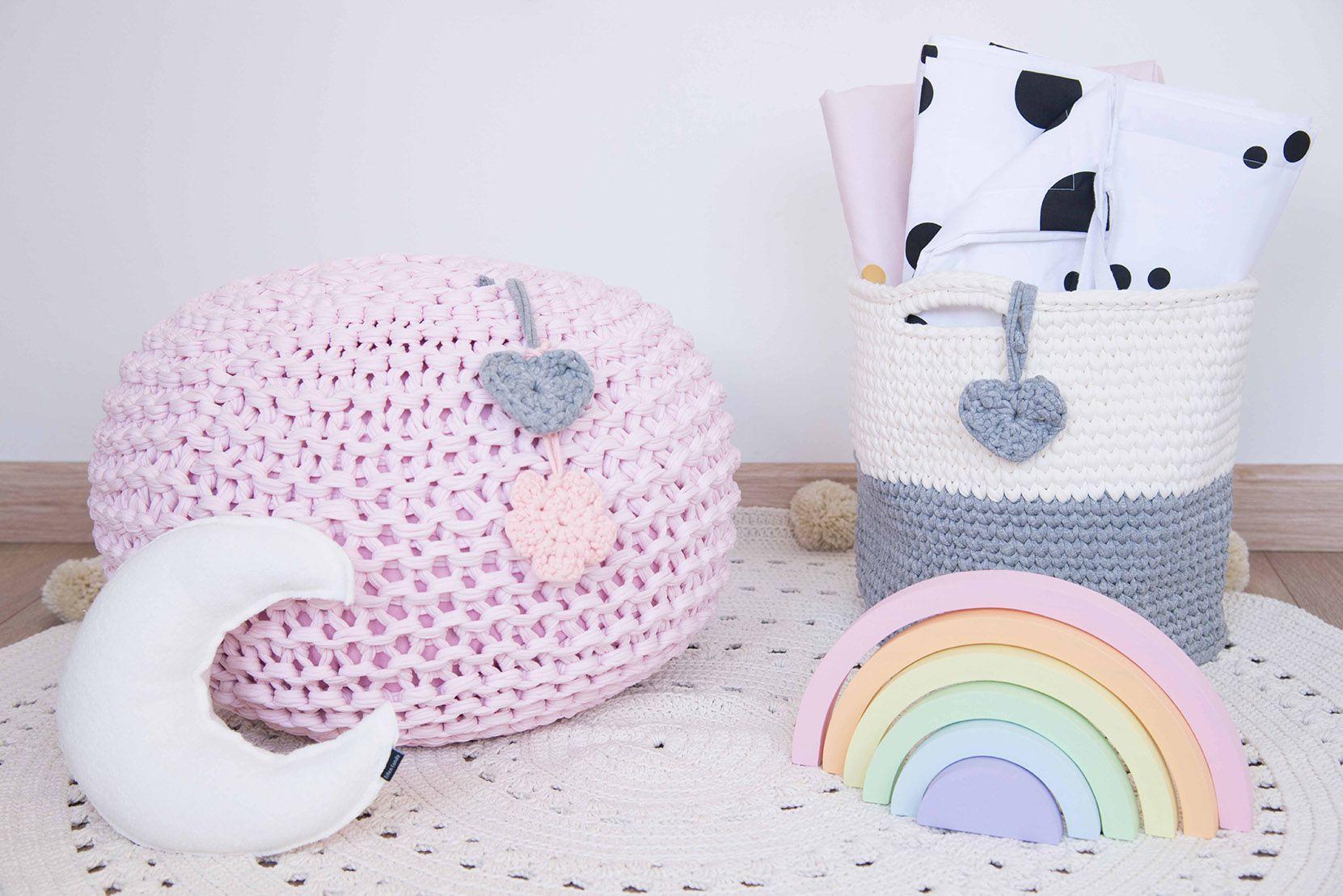 Puffe em Maxi Tricot Fio de Malha - Rosa Bebê