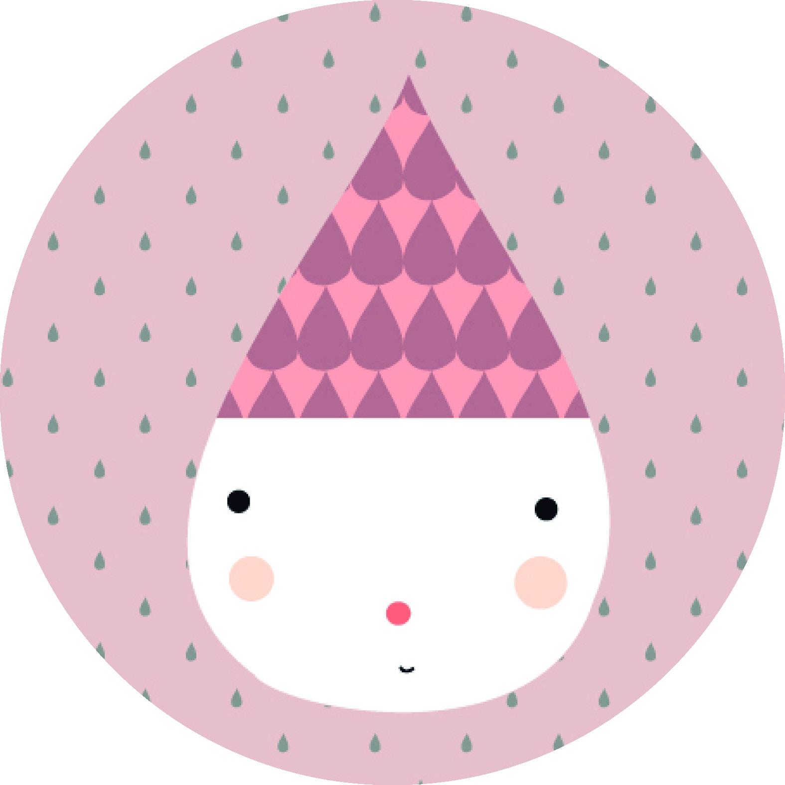 Quadro Infantil Redondo - Pingo Rosa