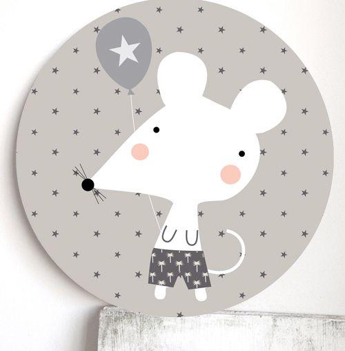 Quadro Infantil Redondo - Ratinho