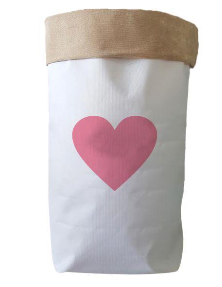 Saco Organizador Infantil para Brinquedos - Bag Coração Rosa