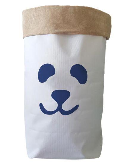 Saco Organizador Infantil para Brinquedos - Bag Panda Azul Marinho