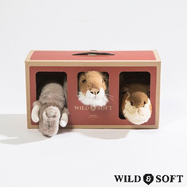Safari Box com 3 Mini Cabeças de Parede de Pelúcia- Wild & Soft