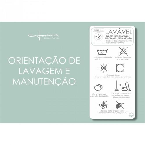 Tapete Lorena Canals Bege com Bolas Brancas - Topos - Antialérgico 120 x 160 cms