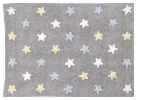 Tapete Lorena Canals Cinza Estrelas Tricolor Azul - 1.20 x 1.60 mts