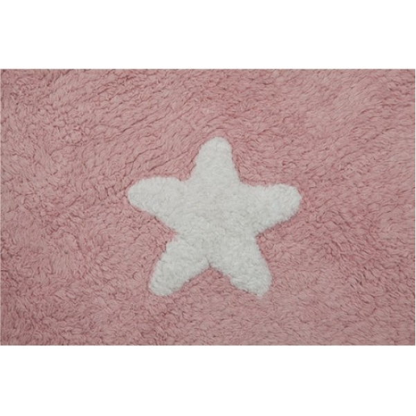Tapete Lorena Canals Rosa com Estrelas Brancas Antialérgico - 1.20 x 1.60 m