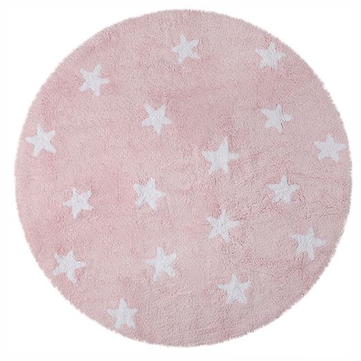 Tapete Redondo Lorena Canals Rosa com Estrelas Brancas - Cielo - 1.40 diam.