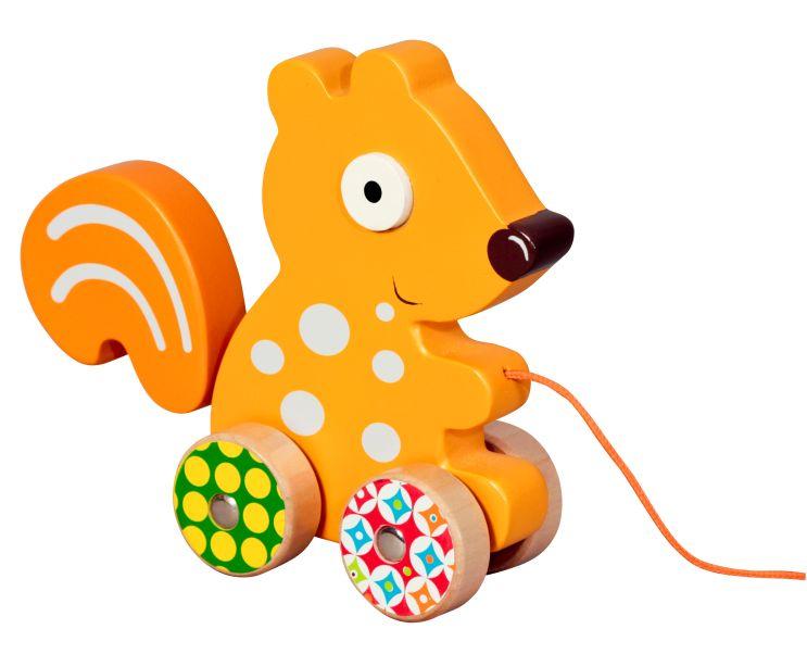 Brinquedo em Madeira para Puxar Ebulobo - Esquilo