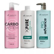 Kit Escovas Progressivas Profissional All Nature,  Advance Pro Complex 1000ml, Carbocisteína 1000ml e Shampoo Limpeza Profunda 1000ml