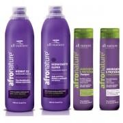 Hidrat 22 Leave In Cremede Pentear Sem Enxague 1000ml, Hidratante Super Ativador de Cachos 1000ml, Shampoo e Condicionador Jaborandi e Proteínas All Nature