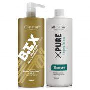 Kit Botox Blond Control All Nature Escova Progressiva Para Cabelos Loiros Descoloridos com Mechas ou Luzes - All Nature