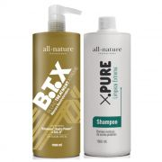 Kit B.T.X All Nature Profissional, Escova Progressiva Para Cabelos Loiros Descoloridos, Mechas e Luzes