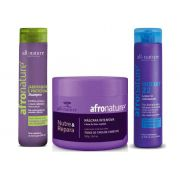 Shampoo de Jaborandi 300ml + Máscara Intensiva 500g Afro Nature e Hidrat 22 Leave In Creme Para Pentear - All Nature