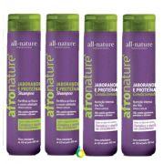 Shampoo e Condicionador de Jaborandi e Proteínas Afro Nature  300ml All Nature, Combate a Queda e Melhora o Crescimento -  4 Unidades Livre Escolha