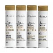 Shampoo Semi Di Lino Para Cabelos Secos e Ressecados e Condicionador Iluminador Cristais de Perola All Nature 4 Unids