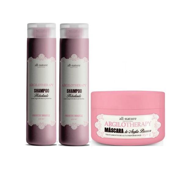 2 Shampoos Hidratante Argilotherapy 300ml e Máscara Capilar Argilotherapy Tratamento de Alta performance 250g - All Nature