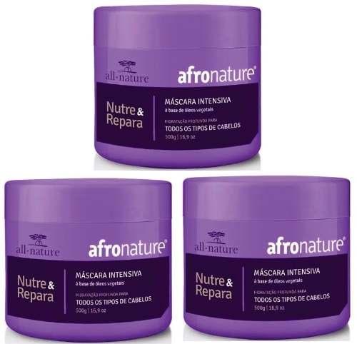 Máscaras Intensiva Afro Nature 500g All Nature - Para Cabelos Secos, Cacheados, Cacheados, Crespos e Afros - 3 Unids.