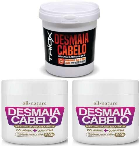 Kit 2 Máscaras  Desmaia Cabelo 500g All Nature + 1 Desmaia Cabelo Queratina e Óleo de Coco 450g  Triox