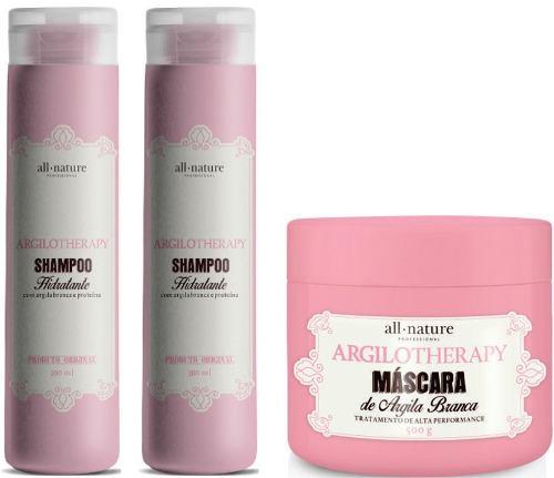 2 Shampoos Hidratante Argilotherapy 300ml e Máscara Capilar Argilotherapy Tratamento de Alta performance 500g - All Nature