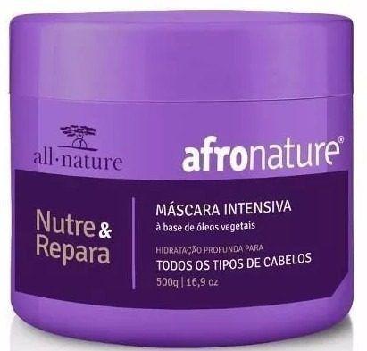 Máscara Capilar Intensiva 500g + 2 Shampoo + 1 Condicionador Amêndoas e Abacate  300ml Afro Nature - All Nature