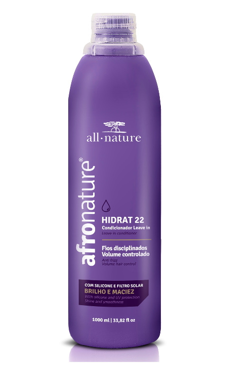 Afro Nature Ativador de Cachos Hidratante Super 1000ml + Hidrat 22 Creme Sem Enxague 1000ml  All Nature