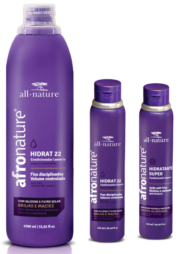 Afro Nature Hidrat 22 1000ml + 2 Hidratante Super Ativador de Cachos 310ml All Nature  Kit Leave In Cachos e Ondas