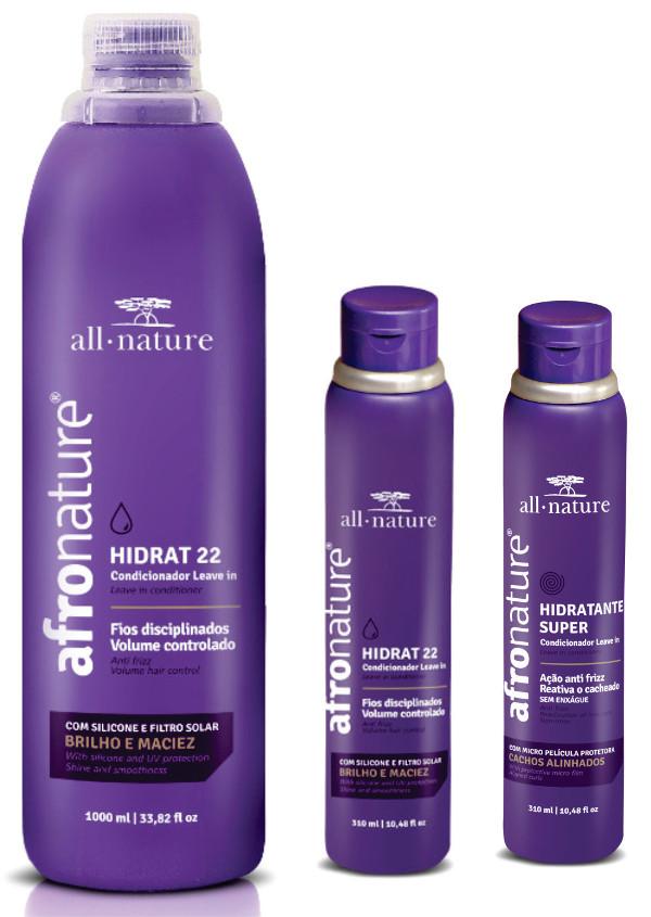 Hidrat 22 Leave In Creme De Pentaar (Sem Enxague) 1000ML Afro Nature, Shampoo e Condicionador Amêndoas e Abacate 300ml All Nature - Para Cabelos Anelados, Cacheados, Crespos, Afro, Secos e Ressecados