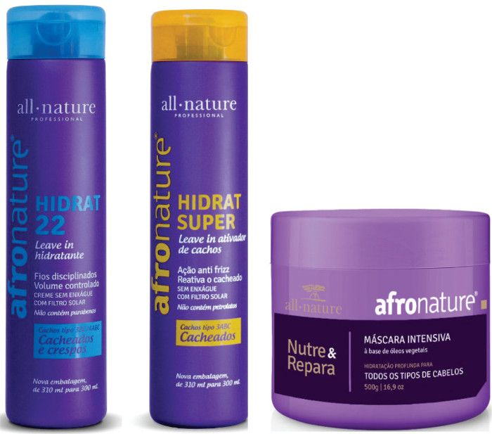 Afro Nature Kit Hidrat 22 + Hidratante Super + Máscara Intensiva AFro