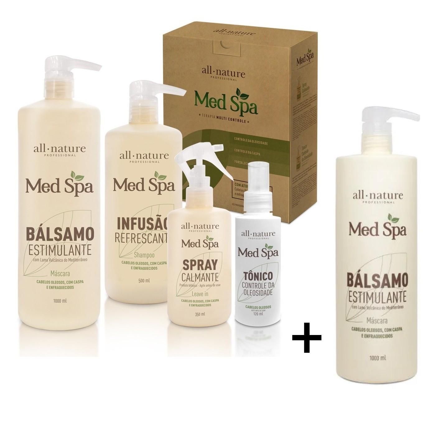 All Nature Kit Med Spa Terapia Capilar Com Lama Vulcânica e Aminoácidos,Tratamento dos Fios e Couro Cabeludo + 1 Balsamo Estimulante 1000ml