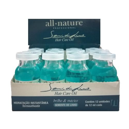 All Nature Semi Di Lino Hair Care Oil, Hidratação Instantânea, 12 Ampolas de 12ml