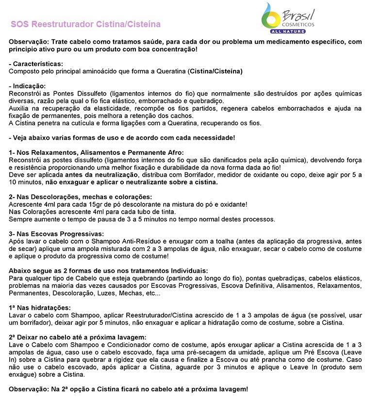 Ampola SOS Reestruturador Cistina All Nature - Caixa com 12 Ampolas
