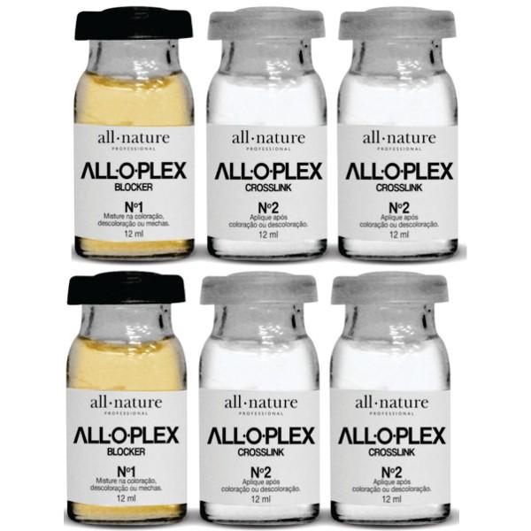 Ampolas Alloplex Blocker All Nature - Dose Dupla - Bloqueador de Danos Nas Coloraçoes Descolorações e Mechas