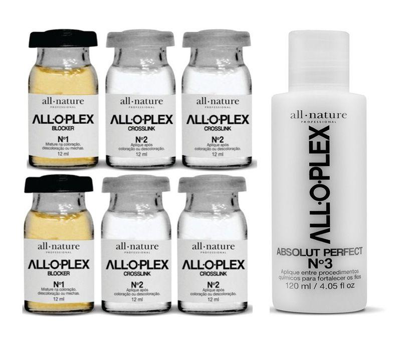 Ampolas Alloplex Blocker All Nature - Dose Dupla - Bloqueador de Danos Nas Coloraçoes Descolorações e Mechas + Alloplex Passo 3 Absolut Perfect 120 ml - All Nature