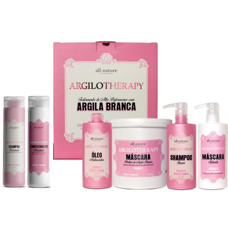 Argilotherapy All Nature, Plástica Cosmética Capilar, Argiloterapia e Manutenção, Shampoo e Condicionador Hidratante