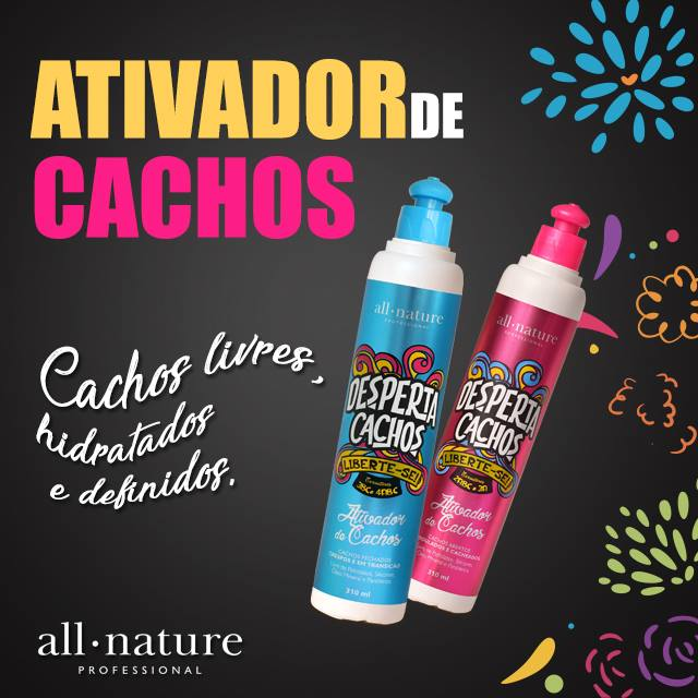 Ativador de Cachos, Abertos, Ondulados, Desperta Cachos 310ml All Nature