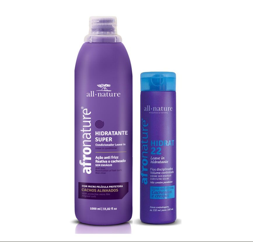 Ativador de Cachos Hidratante Super 1000ml e Hidrat 22 Leave In Creme Para Pentear 300ml All Nature