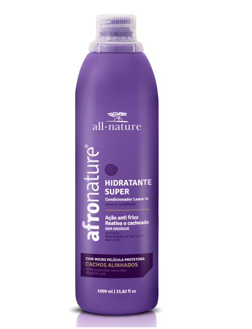 Ativador De Cachos Hidratante Super Afro Nature E Hidrat 22 Leave In Creme de Pentear 1000ml All Nature 3 Und.