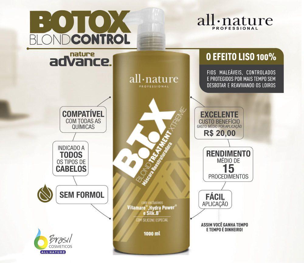 Botox Blond Control All Nature, Escova Progressiva Para Cabelos Loiros Descoloridos com Mechas ou Luzes Contém Hydra Power, Ativo Que Fornece Maciez E Forma Um Filme Protetor