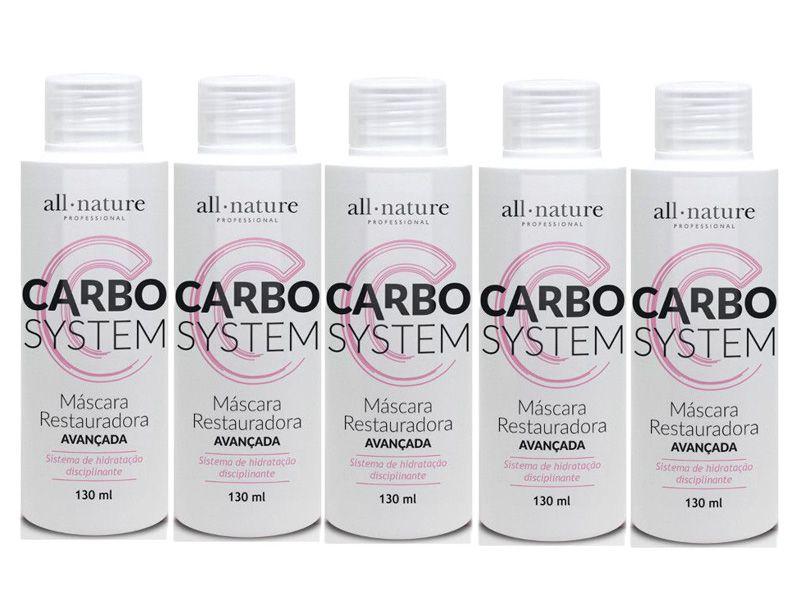 Carbocisteina Escova Progressiva Lisos 100% ou Redução de Volume (Tipo Relaxamento Cacheado) - All Nature - 5 Unidades de 130ml - Total 650ml