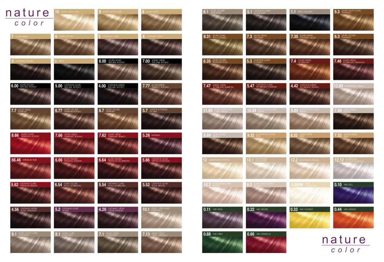 Coloração Nature Color - Tinta All Nature - Conheça Nossa Variedades de Cores e Nuances