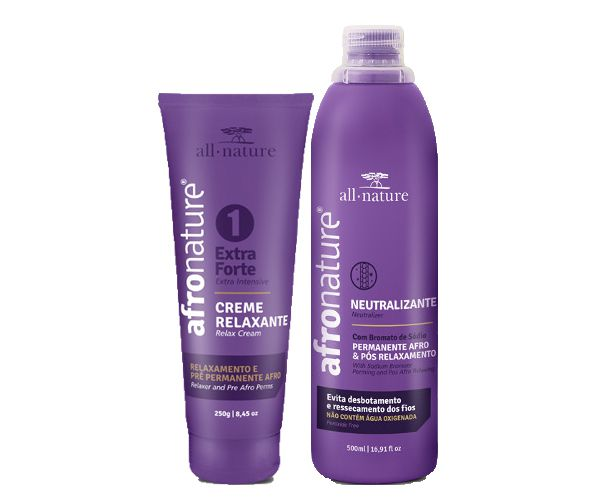 Creme Relaxante Capilar 250g + Neutralizante Capilar Afro Nature 500ml  - All Nature