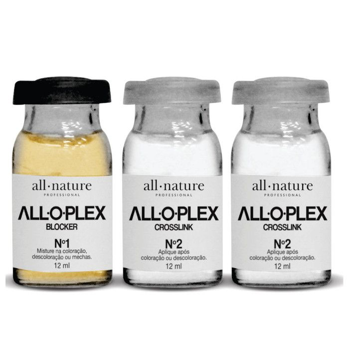 Descoloração e Coloração: Alloplex Blocker Bloqueador de Danos Nas Descolorações e Mechas, Colorações All Nature - Dose 3 Ampolas + Alloplex Passo 3 Absolut Perfect 120 ml - All Nature