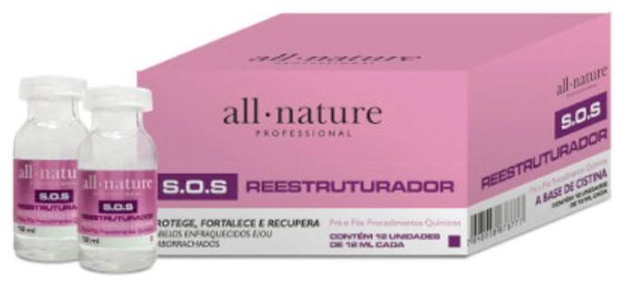 SOS Reestruturador Aminoácidos Cabelos Elásticos e Emulsão de Silicone Pró Escova Triox  All Nature,