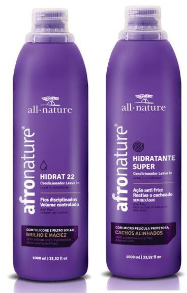 Hidrat 22 Leave In Creme de Pentear Sem Enxague + Hidratante Super Ativador de Cachos + Shampoo e Condicionador Jaborandi e Proteínas + Máscara Afro Intensiva All Nature