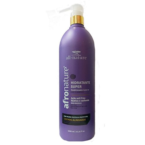 Hidratante Super Ativador de cachos All Nature 1000 ml Reativa e Define o Cacheado Ação Anti Frizz, Termo Protetor, Com Pump
