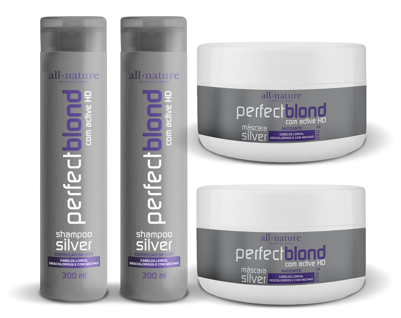 Shampoo Silver Matizante Nature Color 300ml 2 + 2 Máscaras Perfect Blond Correção de Cor Para Loiros, Descoloridoa, Brancos 250g - All Nature
