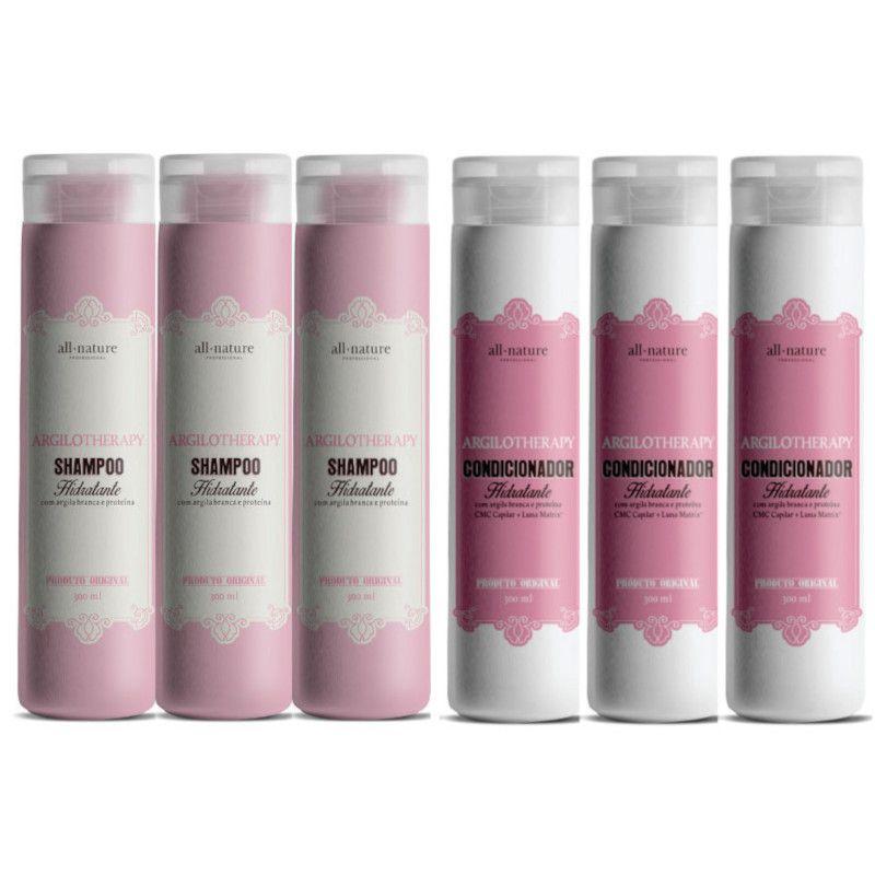 Shampoo e Condicionadores Hidratante Argilotherapy - All Nature - 6-Unids. Livre  Escolha das Quantidades de Cada Tipo