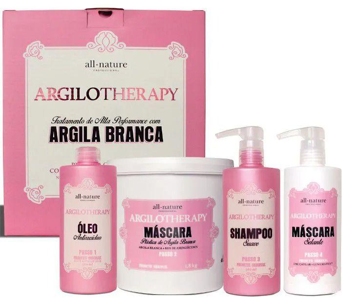 kit Argilotherapy All Nature, com Argila Branca, Reconstrução Capilar de Alta performance