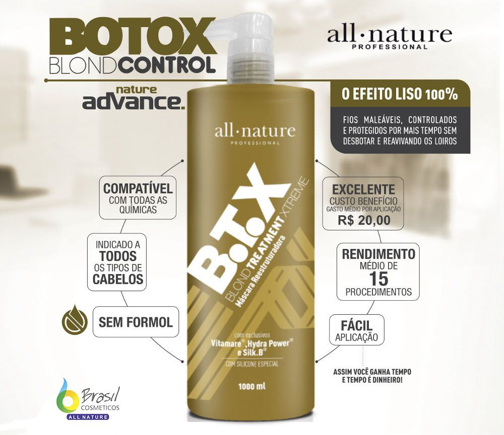 Kit Botox Blond Control All Nature  Escova Progressiva Para Cabelos Loiros Descoloridos com Mechas ou Luzes - All Nature