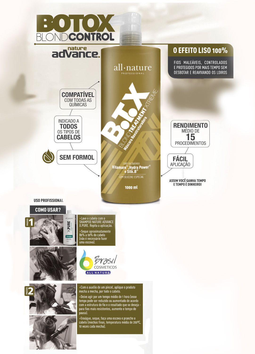 Kit BTX Blond Control All Nature Profissional, Escova Progressiva Para Cabelos Loiros Descoloridos com Mechas e Luzes