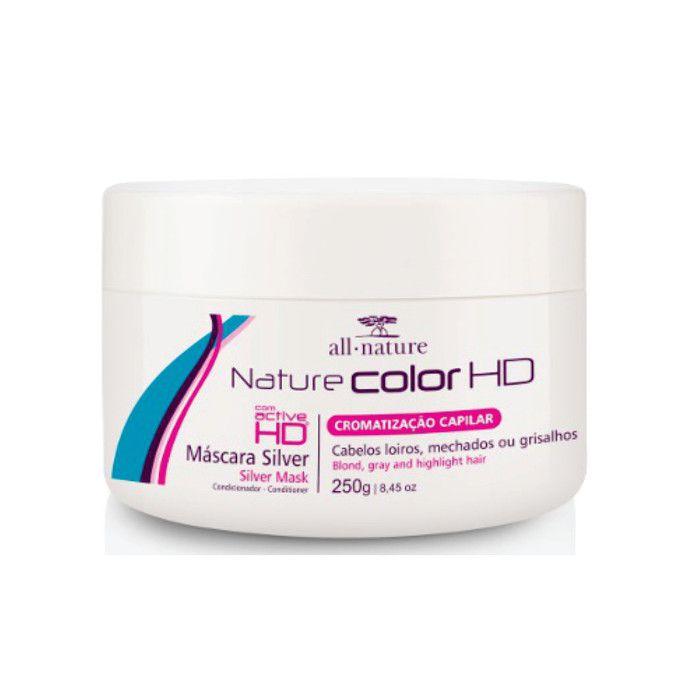 Máscara Silver Matizantes Nature Color 250g 2-Unids. e 1 Shampoo Silver Matizante 310ml - All Nature
